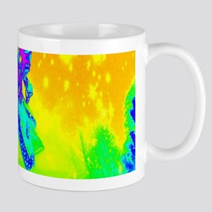 Neon green winter snowmobile Mugs